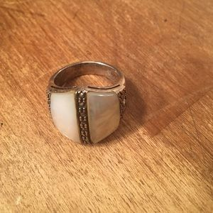 Mother of pearl and marcasite ring
