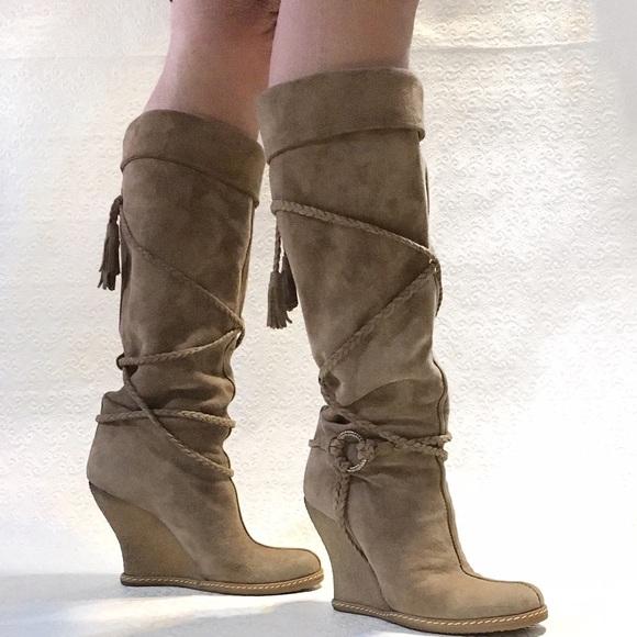 79 shoes 7 italian suede knee high heel wedge