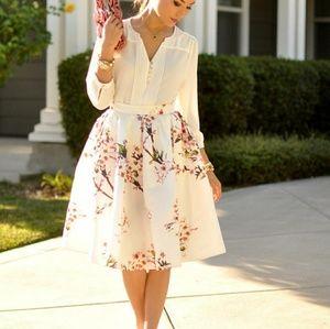 White Floral Midi Skirt