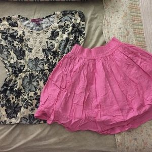 Floral Patterned Shirt & Pink Skirt
