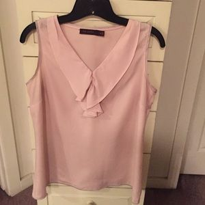 Blushing pink top with taupe piping