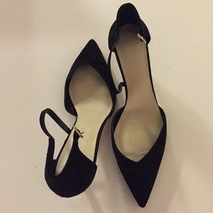 Zara ankle strap heel, black suede
