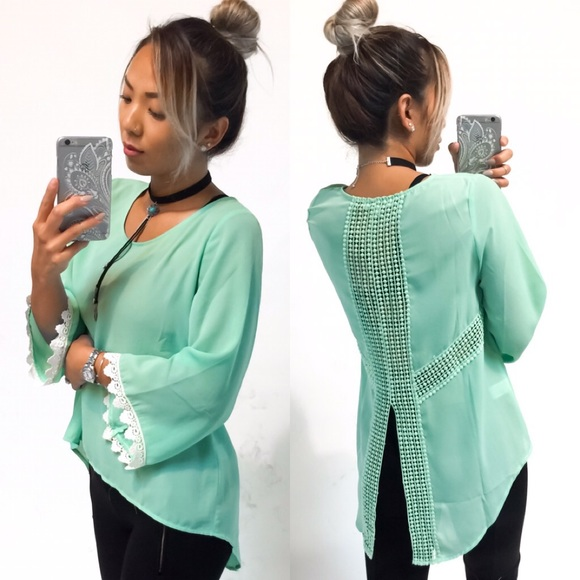 ba5f4fe3a3754 New Mint Crochet Edge Top. Boutique. Hapa Clothing