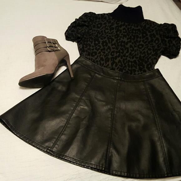 40 h m dresses skirts faux leather skater skirt
