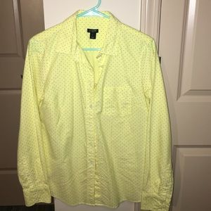 J.Crew button down yellow with purple dots shirt