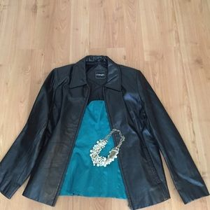 Ladies genuine leather black biker jacket