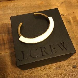 JCrew gold and white enamel cuff bracelet