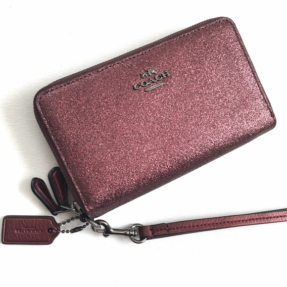 512b2d4972f5 SALE Coach Metallic Cherry Double Zip Phone Wallet