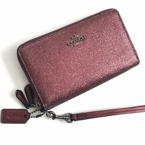 SALE Coach Metallic Cherry Double Zip Phone Wallet