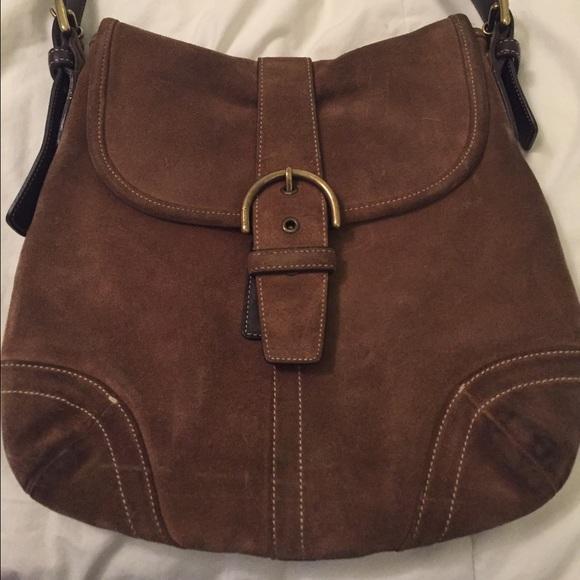 bc1ec3ffe5 Coach Handbags - Coach suede crossbody bag