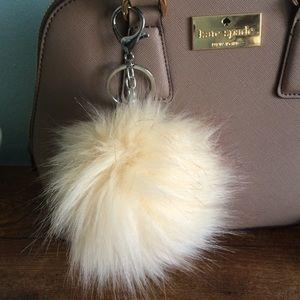 Accessories - Vegan off white fur Pom Pom keychain 94bbd6385