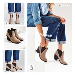 Urban Outfitters Taupe Suede Chelsea Ankle Boots
