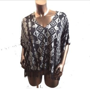 Almost Famous Sweaters - NWT Black & Gray Aztec Print Poncho