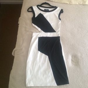 Bebe Black and White Cut Out Dress. New. Small.