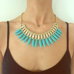 turquoise and gem statement necklace 