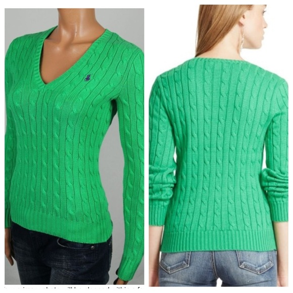 247161b973 Ralph Lauren Sport Green Cable Knit V-neck Sweater