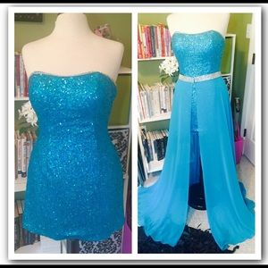 Dresses & Skirts - Turquoise sequin prom dress SALE