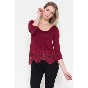 Burgundy Lace Hem Top