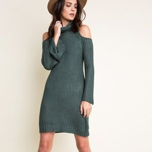 """Dyed Carnations"" Knitted Turtleneck Sweater Dress"