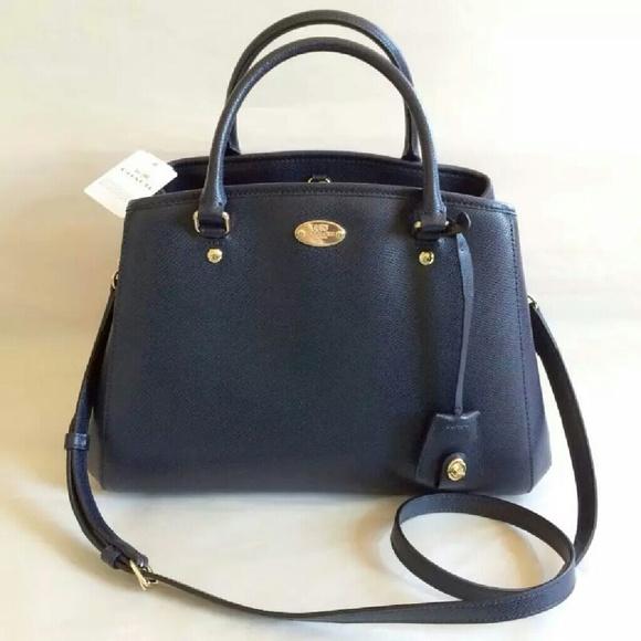 75% off Handbags - Coach navy blue leather Margot carryall small ...
