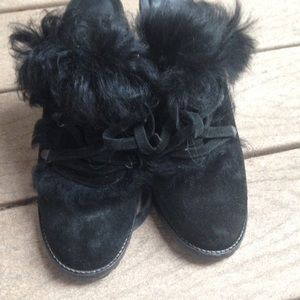 Coach Kristy Black Suede Lace up Clogs Fur Slides