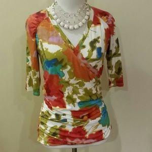 CAbi watercolor wrap shirt