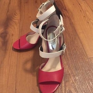 Red, Black and White Michael Kors Sandals
