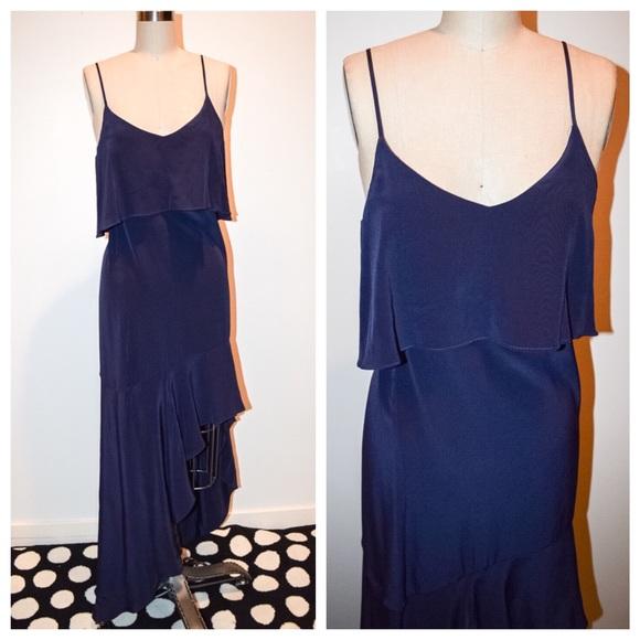69daae380513a4 Intermix Hanna Bib Hi Lo Silk Dress