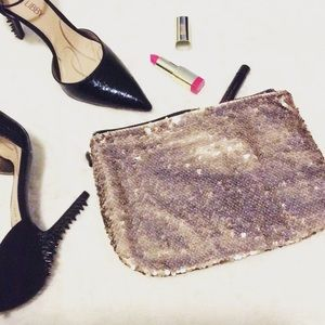 NWT Gold Sequin Clutch