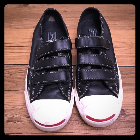 68c960bbde3614 Converse Shoes - Rare Black Leather Velcro Jack Purcell Converse