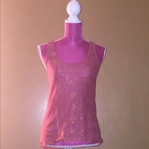 Pink laced tank-top