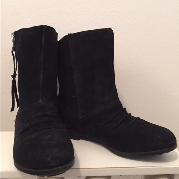 83 aldo shoes aldo black suede zipper flat ankle