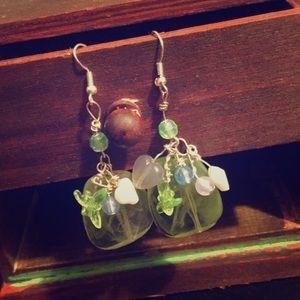 Jewelry - Custom Created Heart & Dragonfly Bauble Earrings