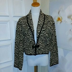 Zebra tapestry 100% cotton crop jacket