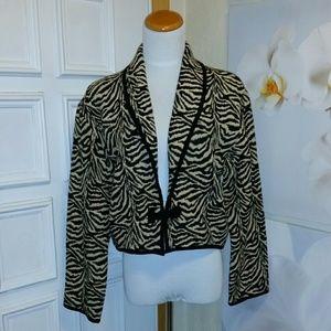 flashback  Jackets & Blazers - Zebra tapestry 100% cotton crop jacket