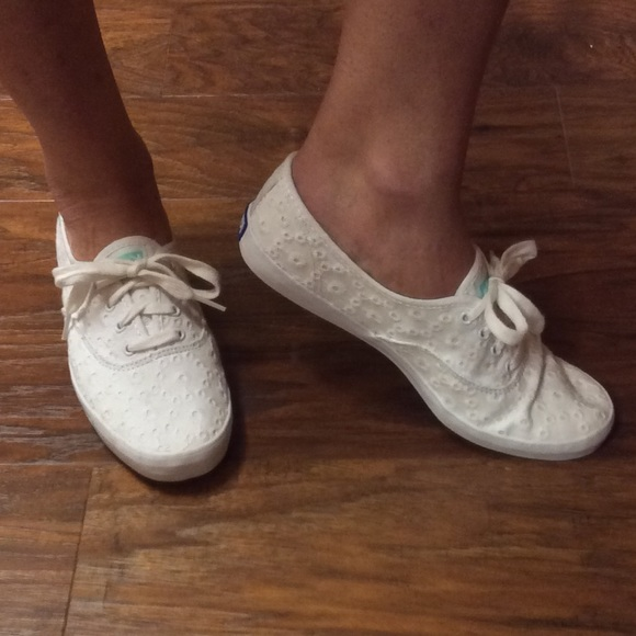 Adorable Eyelet Fabric Keds Sneakers