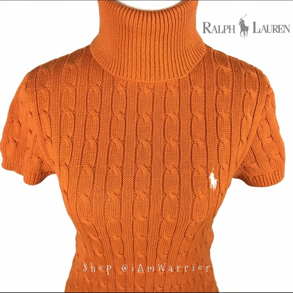 Ralph Lauren - Ralph Lauren orange short sleeve cable turtleneck ...