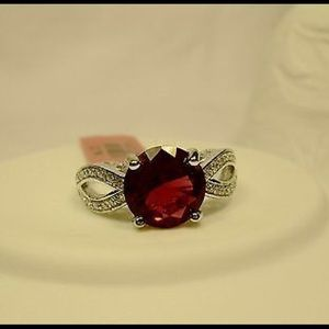 Sterling Silver Red Simulated Diamond Ring