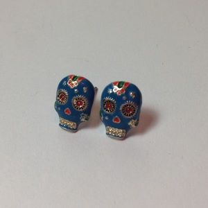 💀Blue Sugar Skull stud earrings
