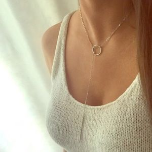 Silver circle and bar lariat necklace