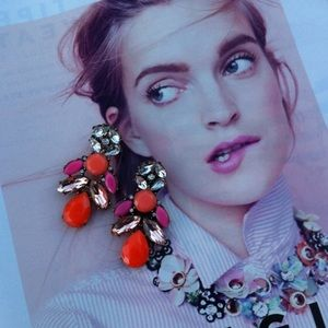 Orange & Pink Crystal Chandelier Stud Earrings