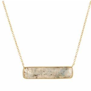 Labradorite Bar Pendant Necklace