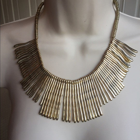 a6e5806b9e2094 Jewelry | Gold Bar Fringe Bib Style Statement Necklace | Poshmark