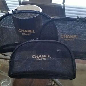 CHANEL Other - 🎉HP🎉 Set of 3 Chanel Mesh Makeup bags cases