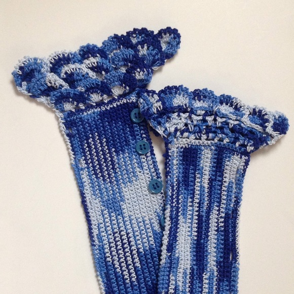 Handmade - Blue crochet Handle Cover for Handbags from ...