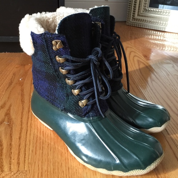 e373e6b2b Sperry Shoes | Green And Blue Plaid Duck Boot | Poshmark