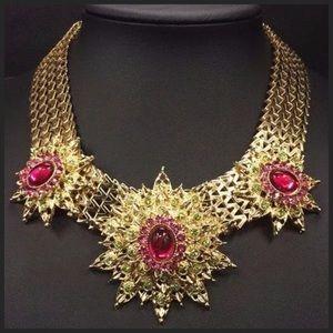 Custom Jewelry - D30 Pink Green Austrian Crystal Starburst Necklace