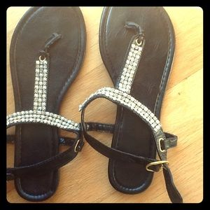 Shoes - 💎Black Rhinestone and Pearl Flat💎NWOT