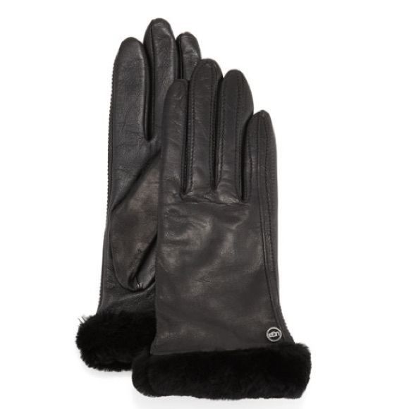 b34ad2d5985 UGG Classic Fur-Trim Leather Smart Gloves, Black NWT