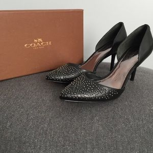 79 coach shoes black and white coach high heels